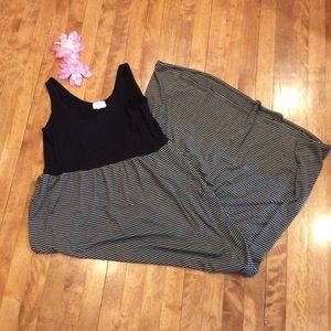 Black with gray & black stripes sundress maxi lg